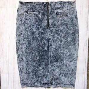 DAZL High Waist Acid Wash Skirt Bodycon Large